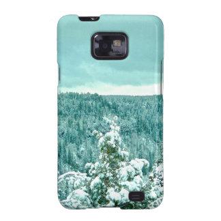 Le pays des merveilles d'hiver de forêt de montagn coque samsung galaxy SII