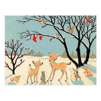 Le pays des merveilles vintage d'hiver carte postale