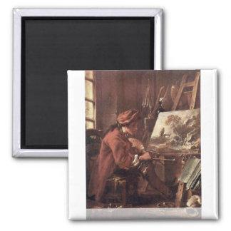 Le peintre dans son autoportrait de studio magnet carré