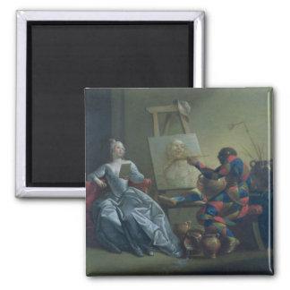 Le peintre de harlequin, c.1742 (huile sur la toil aimants pour réfrigérateur