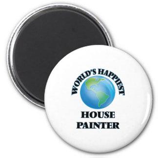 Le peintre le plus heureux de la Chambre du monde Magnet Rond 8 Cm