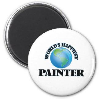 Le peintre le plus heureux du monde magnet rond 8 cm
