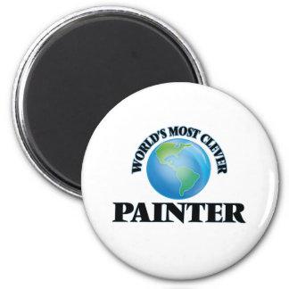 Le peintre le plus intelligent du monde magnet rond 8 cm