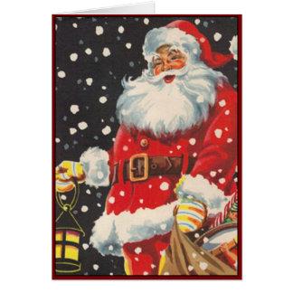Le père noël avec la lanterne de Noël - image Cartes De Vœux