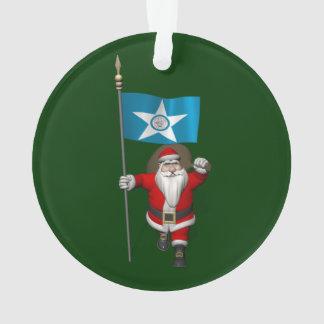 Le père noël avec le drapeau de Houston
