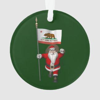 Le père noël avec le drapeau de la Californie