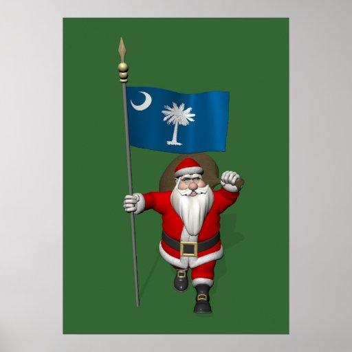 Le père noël avec le drapeau de la Caroline du Sud Poster