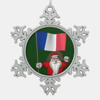 Le père noël avec le drapeau de la France Ornement