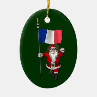 Le père noël avec le drapeau de la France Décorations Pour Sapins De Noël
