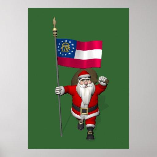 Le père noël avec le drapeau de la Géorgie Affiches