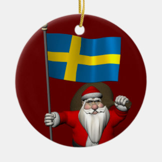 Le père noël avec le drapeau de la Suède Décoration Pour Sapin De Noël