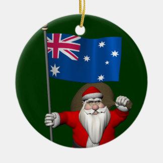 Le père noël avec le drapeau de l'Australie Décorations De Noël