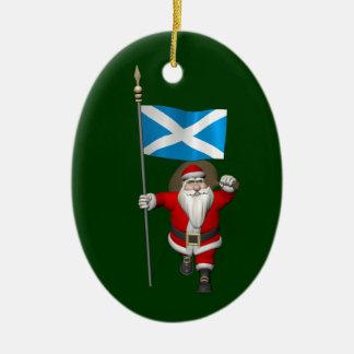 Le père noël avec le drapeau de l'Ecosse Décorations De Noël