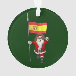 Le père noël avec le drapeau de l'Espagne