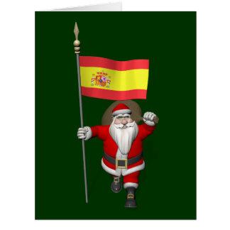 Le père noël avec le drapeau de l'Espagne Carte De Vœux Grand Format