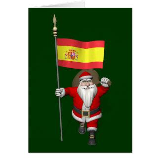 Le père noël avec le drapeau de l'Espagne Carte De Vœux