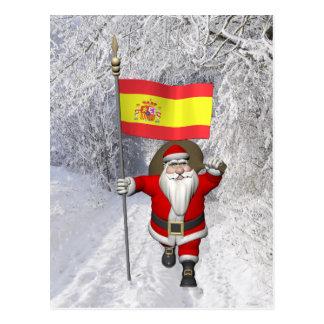Le père noël avec le drapeau de l'Espagne Carte Postale