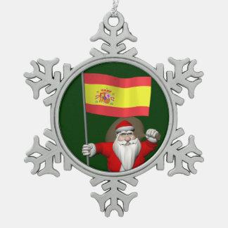 Le père noël avec le drapeau de l'Espagne Ornements