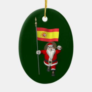 Le père noël avec le drapeau de l'Espagne Ornement Ovale En Céramique