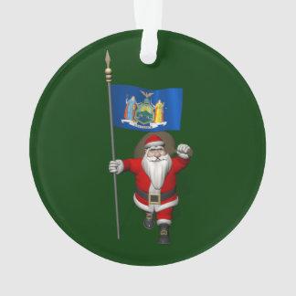 Le père noël avec le drapeau de l'état de New York