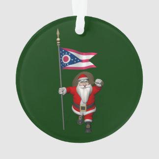 Le père noël avec le drapeau de l'Ohio