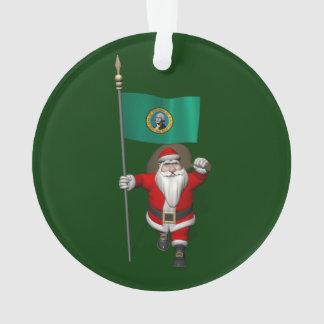 Le père noël avec le drapeau de Washington