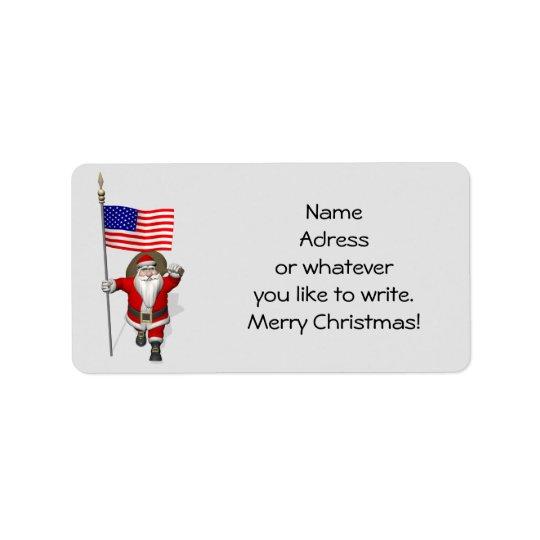 Le père noël avec le drapeau des Etats-Unis Étiquettes D'adresse
