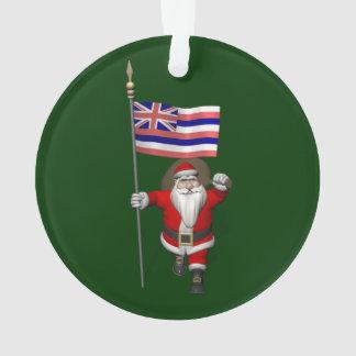 Le père noël avec le drapeau d'Hawaï
