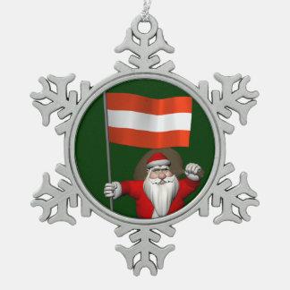 Le père noël avec le drapeau d'Österreich Ornement