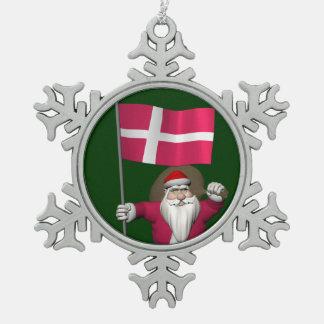 Le père noël avec le drapeau du Danemark Dannebrog Ornement Flocon De Neige Pewter