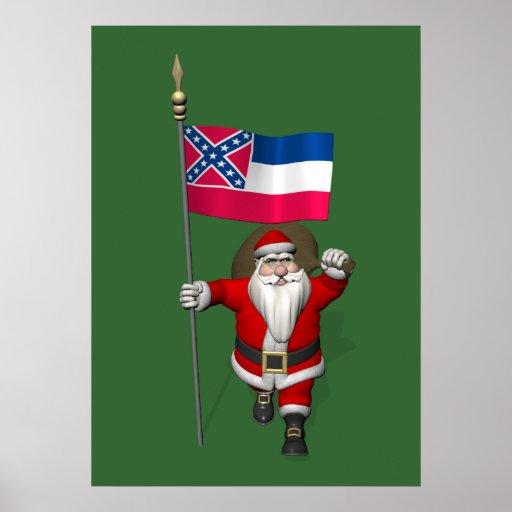 Le père noël avec le drapeau du Mississippi Poster