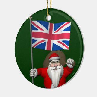 Le père noël avec le drapeau du R-U Décorations De Noël