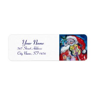Le PÈRE NOËL AVEC Noël de musical de VIOLON Étiquette D'adresse Retour