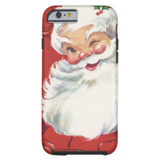 Le père noël clignotant gai, Noël vintage Coque iPhone 6 Tough