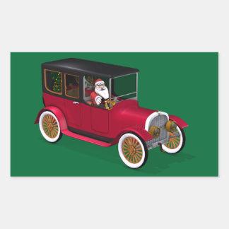 Le père noël dans le hot rod autocollants en rectangle
