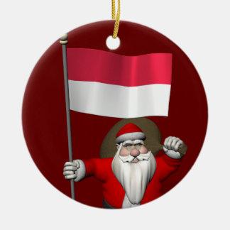 Le père noël doux avec le drapeau de l'Indonésie Décorations Pour Sapins De Noël