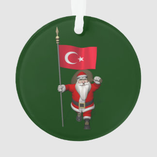 Le père noël drôle avec le drapeau de la Turquie