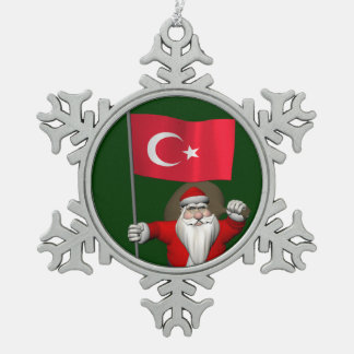 Le père noël drôle avec le drapeau de la Turquie Décoration De Noël