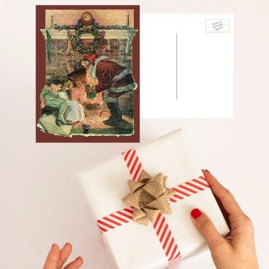 Le père noël et enfants de sommeil par la cheminée carte postale