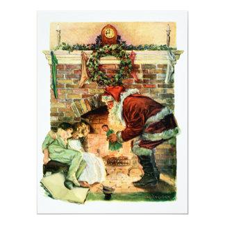 Le père noël fournissant des présents carton d'invitation  16,51 cm x 22,22 cm