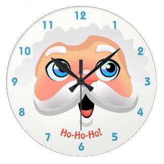 Le père noël heureux font face grande horloge ronde