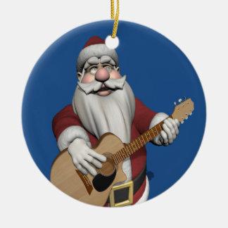 Le père noël jouant des chansons de Noël sur sa Ornement Rond En Céramique