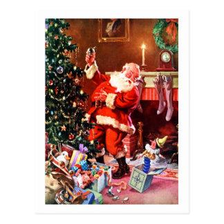 Le père noël la nuit avant Noël Carte Postale