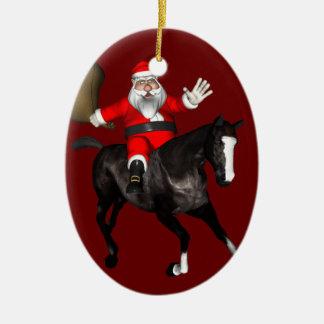Le père noël montant un cheval noir décorations de noël