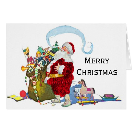 Le père noël vintage et son sac de Noël de jouets Carte De Vœux