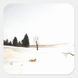 Le petit Fox Sticker Carré
