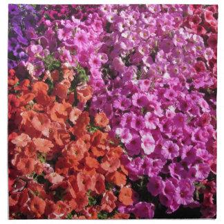Le pétunia multicolore fleurit l'arrière - plan de serviettes imprimées