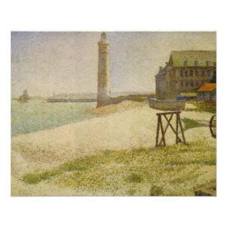 Le phare chez Honfleur par Georges Seurat Prospectus 11,4 Cm X 14,2 Cm