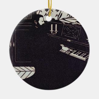 Le piano, 1914 (gravure sur bois) ornement rond en céramique