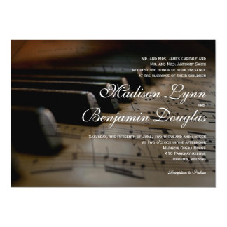 Le piano verrouille des invitations de mariage de carton d'invitation  11,43 cm x 15,87 cm